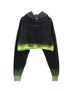 OTTOLINGER CROPPED HOODIE / BLACK BLEACH
