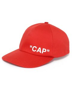 OFF-WHITE c/o Virgil Abloh MENS QUOTE BASEBALL CAP / RED WHITE