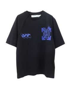 OFF-WHITE c/o Virgil Abloh MENS WIZARD AND CAT S/S RECONS TEE / 1030 : BLACK BLUE