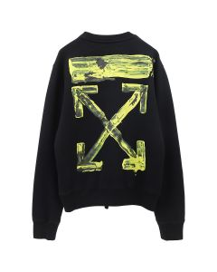 OFF-WHITE c/o Virgil Abloh MENS ACRYLIC ARROWS SLIM CREWNECK / 1060 : BLACK YELLOW