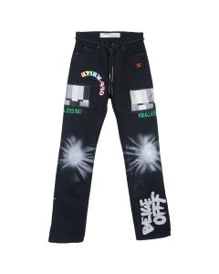 OFF-WHITE c/o Virgil Abloh MENS EV BRAVADO RELAXED JEANS / 1088 : BLACK MULTICOLOR