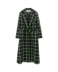 OFF-WHITE c/o Virgil Abloh WOMENS FLOCK TWO LAYER BELT COAT / 1000 : BLACK NO COLOR