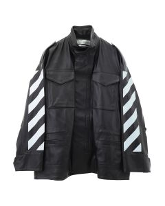 OFF-WHITE c/o Virgil Abloh WOMENS DIAG FIELD JKT / 1001 : BLACK WHITE