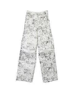 OFF-WHITE c/o Virgil Abloh WOMENS GRAPHITE OVERSIZE TOMBOY PANT / 0199 : WHITE ALL OVER