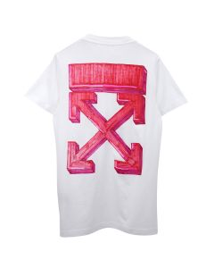 OFF-WHITE c/o Virgil Abloh MENS MARKER S/S SLIM TEE / 0125 : WHITE RED