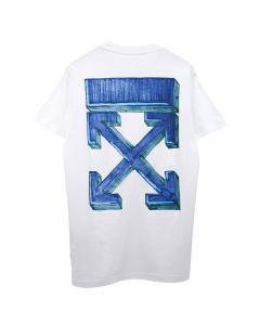 OFF-WHITE c/o Virgil Abloh MENS MARKER S/S SLIM TEE / 0145 : WHITE BLUE