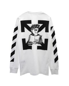 OFF-WHITE c/o Virgil Abloh MENS DIAG PENCIL ARCH L/S TEE / 0110 : WHITE BLACK