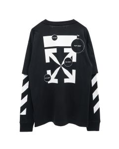 OFF-WHITE c/o Virgil Abloh MENS DIAG CUT HERE DOUBLE SLEEVE TEE / 1001 : BLACK WHITE