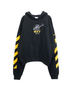 OFF-WHITE c/o Virgil Abloh MENS DIAG FREE WIZARD OVER HOODIE / 1018 : BLACK YELLOW