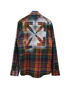 OFF-WHITE c/o Virgil Abloh MENS STENCIL FLANNEL CHECK SHIRT / 2010 : ORANGE BLACK