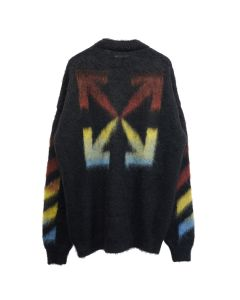 OFF-WHITE c/o Virgil Abloh MENS DIAG BRUSHED MOHAIR CREWNECK / 1087 : BLACK RAINBOW