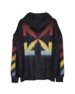 OFF-WHITE c/o Virgil Abloh MENS DIAG BRUSHED MOHAIR ZIP HOODIE / 1087 : BLACK RAINBOW