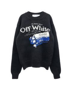 OFF-WHITE c/o Virgil Abloh MENS PASCAL MEDICINE CREWNECK / 1001 : BLACK WHITE