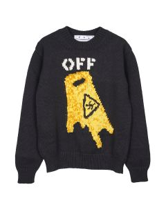 OFF-WHITE c/o Virgil Abloh MENS PASCAL WET FLOOR CREWNECK / 1018 : BLACK YELLOW
