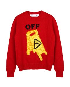 OFF-WHITE c/o Virgil Abloh MENS PASCAL WET FLOOR CREWNECK / 2518 : RED YELLOW