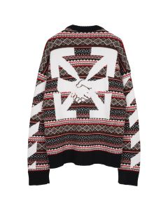OFF-WHITE c/o Virgil Abloh MENS AGREEMENT FAIR ISLE CREWNECK / 2501 : RED WHITE