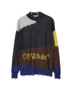 OFF-WHITE c/o Virgil Abloh MENS OW PUNKED CREWNECK / 0825 : MELANGE GREY RED