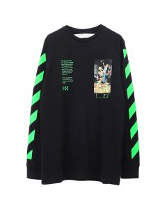 OFF-WHITE c/o Virgil Abloh MENS PASCAL PAINTING L/S TEE / 1088 : BLACK MULTICOLOR