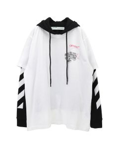 OFF-WHITE c/o Virgil Abloh MENS GOLDEN RATIO DOUBLE TEE HOODIE / 0188 : WHITE MULTICOLOR