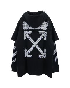 OFF-WHITE c/o Virgil Abloh MENS AIRPORT TAPE DOUBLE TEE HOODIE / 1088 : BLACK MULTICOLOR