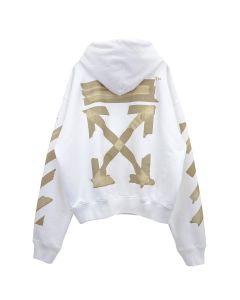 OFF-WHITE c/o Virgil Abloh MENS TAPE ARROWS OVER HOODIE / 0148 : WHITE BEIGE