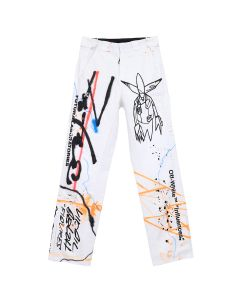 OFF-WHITE c/o Virgil Abloh MENS FUTURA RAINBOW CARPENTER PANT / 0188 : WHITE MULTICOLOR