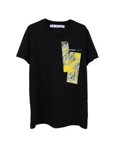OFF-WHITE c/o Virgil Abloh WOMENS MIXED PAINTING CASUAL TEE / 1018 : BLACK YELLOW