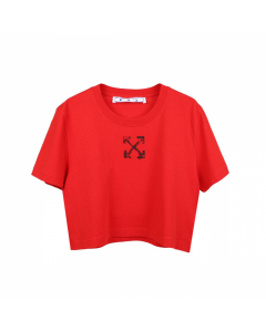 OFF-WHITE c/o Virgil Abloh WOMENS SPRAY ARROW CROP CASUAL TEE / 2510 : RED BLACK