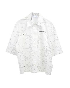 OFF-WHITE c/o Virgil Abloh WOMENS PUZZLE BOWLING SHIRT / 0110 : WHITE BLACK