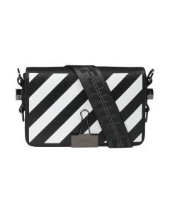 OFF-WHITE c/o Virgil Abloh WOMENS DIAG MINI FLAP BAG / 1001 : BLACK WHITE