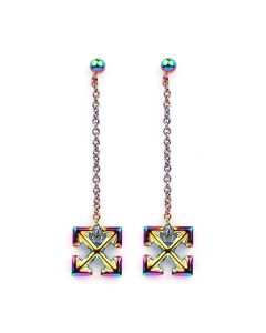 OFF-WHITE c/o Virgil Abloh WOMENS ANODIZED SMALL ARROW PENDANT EARRINGS / 8800 : MULTICOLOR NO COLOR