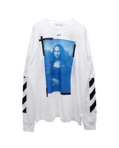 OFF-WHITE c/o Virgil Abloh MENS BLUE MONAL DOUBLE SLEEVE TEE / 0110 : WHITE BLACK
