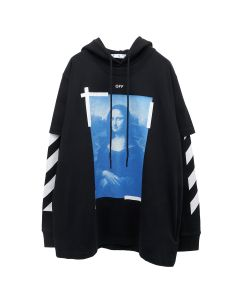 OFF-WHITE c/o Virgil Abloh MENS BLUE MONAL DOUBLE TEE HOODIE / 1001 : BLACK WHITE