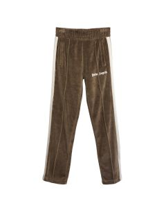 Palm Angels CHENILLE TRACK PANTS / 6401 : DARK BROWN WHITE