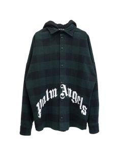 Palm Angels HOODY LOGO OVERSHIRT / 5701 : FOREST GREEN WHITE
