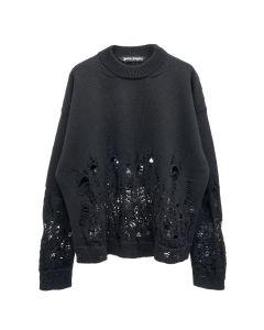 Palm Angels DISTRESSED FLAMES SWEATER / 1001 : BLACK WHITE