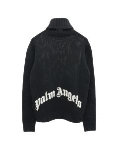 Palm Angels REC LOGO TURTLE NECK / 1001 : BLACK WHITE