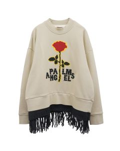 Palm Angels RED ROSE FRINGED CREW / 6125 : BEIGE RED