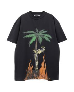 Palm Angels BURNING SKELETON TEE / 1088 : BLACK MULTICOLOR