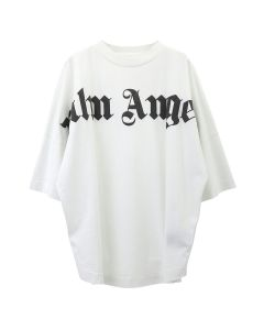 Palm Angels FRONT LOGO OVER TEE / 0210 : OFF WHITE BLACK