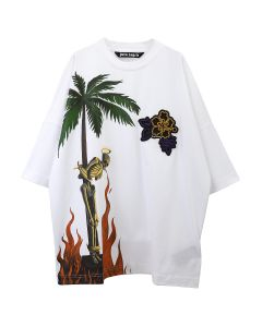 Palm Angels BURNING SKELETON OVER TEE / 0188 : WHITE MULTICOLOR
