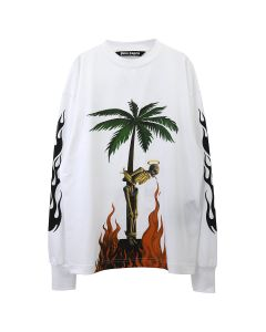 Palm Angels BURNING SKELETON L/S TEE / 0188 : WHITE MULTICLOR
