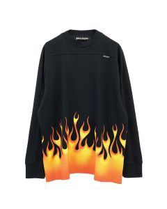 Palm Angels BURNING LOGO OVER TEE L/S / 1088 : BLACK MULTICOLOR