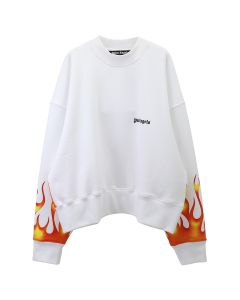 Palm Angels FIRESTARTER CREWNECK / 0188 : WHITE MULTICOLOR