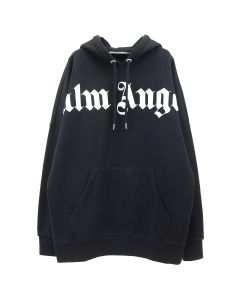 Palm Angels FRONT OVER LOGO HOODY / 1001 : BLACK WHITE