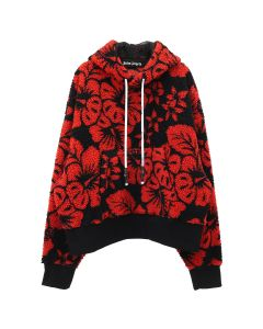 Palm Angels HAWAIIAN PILE HOODY / 1020 : BLACK RED