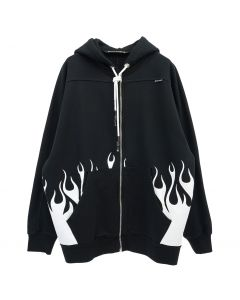 Palm Angels BURNING LOGO ZIP OVER HOODY / 1001 : BLACK WHITE