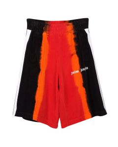 Palm Angels TIE DYE CHENILLE TRACK SHORTS / 2010 : RED BLACK