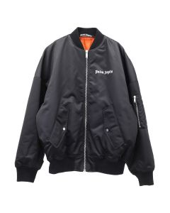 Palm Angels LOGO OVER BOMBER / 1001 : BLACK WHITE