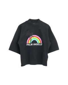 Palm Angels RAINBOW CROPPED TEE / 1001 : BLACK WHITE